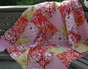 Queen Size Quilt - King Size Quilt - Rag Quilt - Quilt For Bed - Red Quilt for Bed - Pink Quilt - Rag Quilt Bedding - Custom Bed Quilt