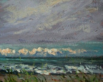 original small painting, ocean storm rain, Sessa