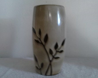 Vintage Handmade Ceramic Salt Glaze Modern Vase Hand Painted Earth Tones