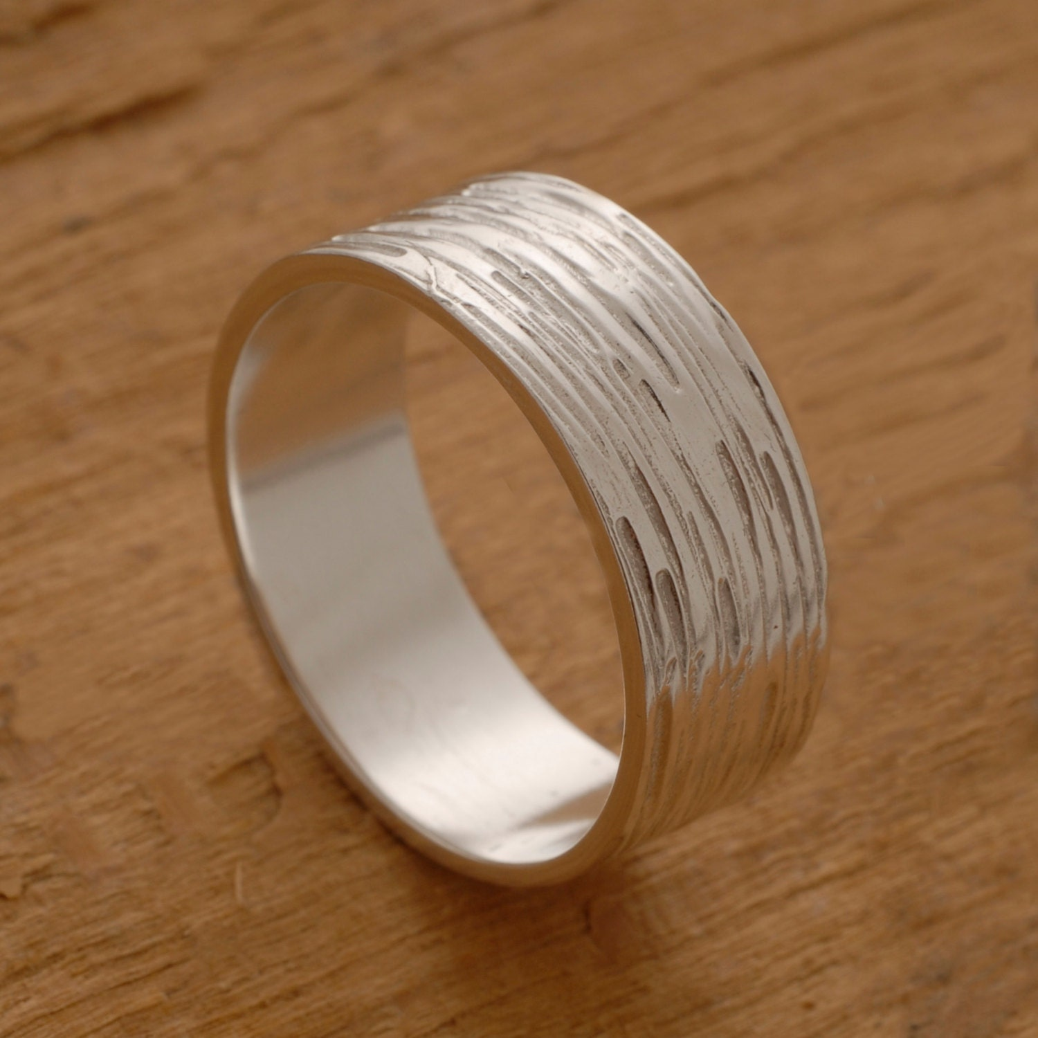 Mens Wedding Band Textured Sterling Silver Wedding Ring