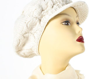 SALE 50% off White Wool Cable Cap Hat