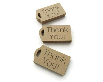 Thank You Tag - Mini Tags - 25 Count - Hang Tag - 1.25 x 0.7 inch - Kraft Tag - Mini Wedding Favor Tags - Gift Tag - Jewelry Tags TY19