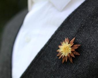 "Wooden Lapel Flower- ""York"""