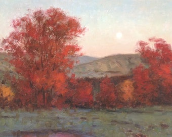 Harvest Moon Karl Thomas Plein Air Landscape Oil on Canvas Painting 24x36 Medium Fall Trees Moon Fine Art Gallery