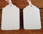 """2.75"""" 12 Pack of blue and white polka dot gift/favor/merchandise tags"""