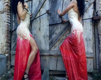 Latex bloodsplatter dress. Made to order