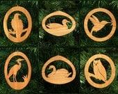 Birds Christmas Ornament Set: Bald Eagle, Duck, Hummingbird, Heron, Swan, Owl