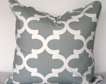 Fynn Pillow Cover. Grey and White print pillow cover. Modern Pillow Cover.