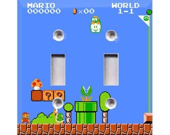 8-Bit Super Mario Double Light Switch Cover