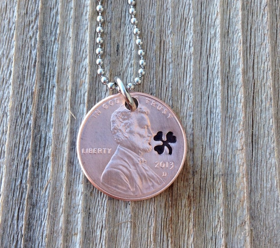 Lucky penny necklace with hand stamped shamrock  st patricks day gift mens and women's 7 year anniversary graduation gift 2016 jewelry