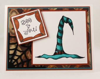 Handmade Halloween Card, Witches Hat Card, Trick or Treat, Happy Halloween Card
