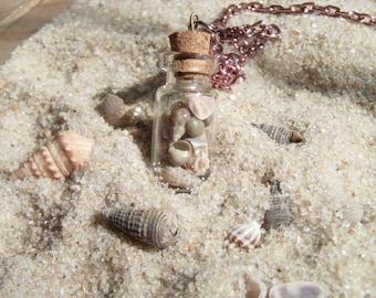 Sea Shells in a Bottle - Bottle Charm Necklace