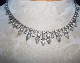Vintage Weiss 1950's Rhinestone Fringe Necklace