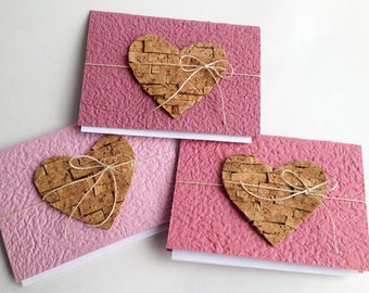Cork heart notecards - made from handmade paper (upcycled/recycled materials)