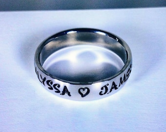 "Personalized Ring, Engraved Ring, Personalized/Engraved Ring "" Wedding Band Style"", name Ring, Class Ring WBSS01"