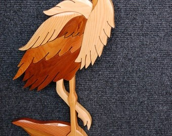 HERON - Small Intarsia Art Carving