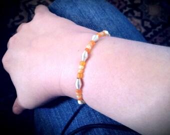 Stretchy Beaded Bracelet:  Peach Slinky
