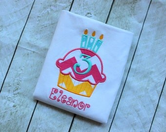 cupcake birthday shirt girls first birthday shirt chevron polka dot clothing birthday clothing girl birthday number applique top  birthday