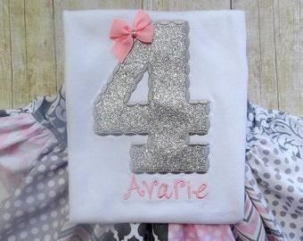 birthday top birthday shirt birthday number silver applique top polka dot birthday shirt set outfit clothing girl toddler hot pink chevron