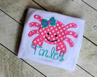 girls crab shirt girls aqua and pink crab birthday shirt  toddler birthday summer clothinig birthday clothing girl birthday applique top