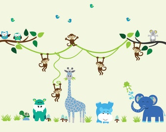 Jungle with Vines Monkeys Animals DECAL, Reusable Fabric Tree Wall Decal, Jungle Decal - N171VBBB