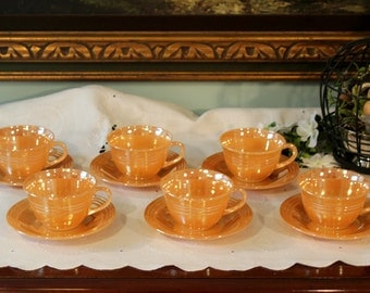 Fire King Peach Lusterware - Set of 6 Cups and Saucers - Three Band Style - Made in USA