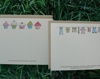Scripture Notecards Flat Cards Assortment Christian Stationery Cupcakes Laundry Psalm 34.8 Colossians 3.12