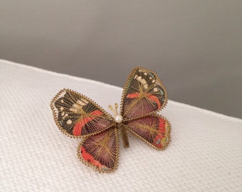Vintage Orange and Gold Butterfly Brooch with Wings of Paper and Thread