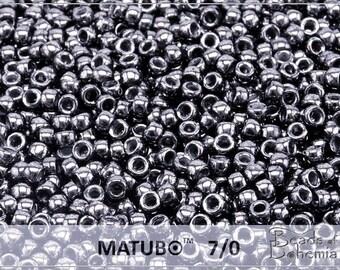 10 g Metallic Hematite Czech MATUBO Seed Beads 7/0 (8787)