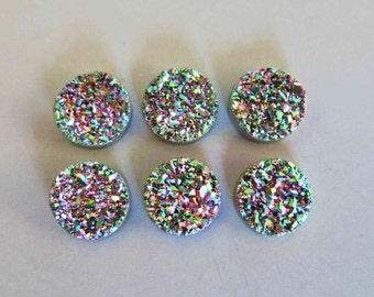Polished Natural Quartz Rainbow Color Titanium Round Druzy Cabochon 14mm