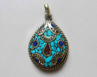 Tibetan Brass Pendant With Lapis lazuli Coral Turquoise Inlay 34mm x 28mm - A410