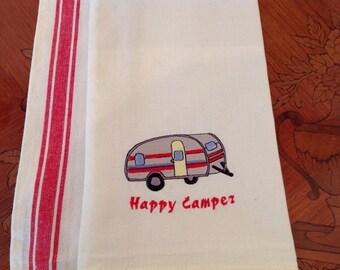 Happy Camper Retro Dishtowel