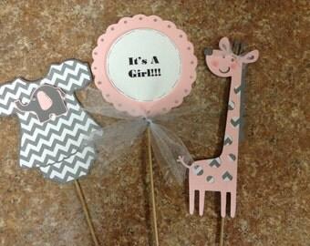 Pink and Grey Chevron,  It's a Girl Giraffe Centerpieces