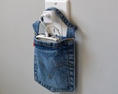Cell phone docking station, Levi's upcycled wall charger for iPhone 5S, 5C, or smartphone