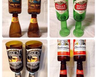 Beer Bottle Wine Glasses. Recycled Glass Bottles.