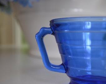 vintage Hazel Atlas Moderntone Wedding Band cobalt blue sugar bowl