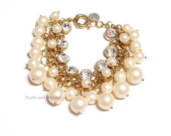 Pearl Twisted Bracelet Chunky Pearl Bracelet Pearl Cluster Bracelet