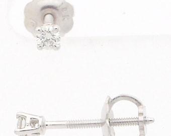 14 Karat GH-VS Diamond Baby Tiny Stud Earrings White Gold Screw Back 0.08 Ct