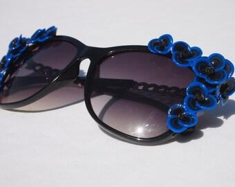 Royal Blue Floral Sunglasses