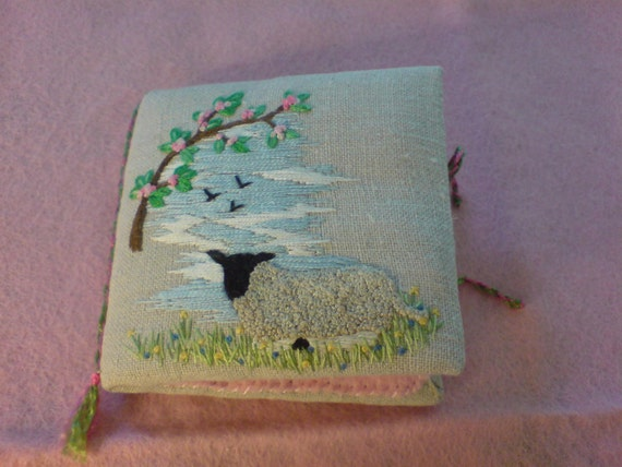 Hand embroidered Lamb design  needle case with 4 felt pages