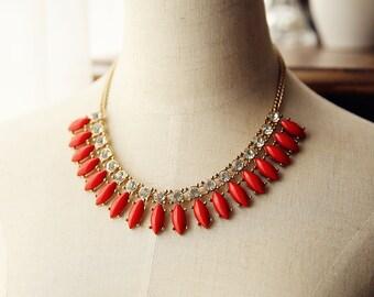Lipstick Red gem statement necklace