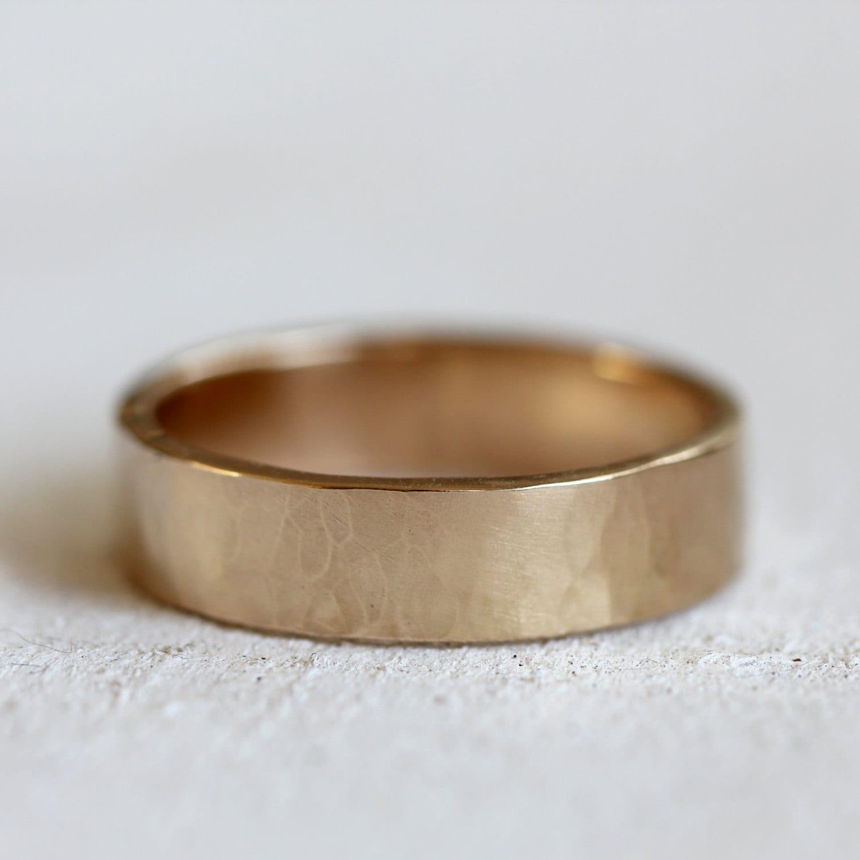 s 14k gold hammered wedding band solid gold hammered