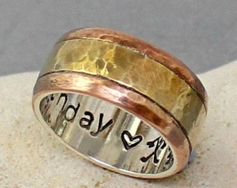 Personalized Ring.. Wedding Band.. Custom Silver-Brass-Copper Ring.. Sterling silver brass and copper Band.. Mens / womens Band..