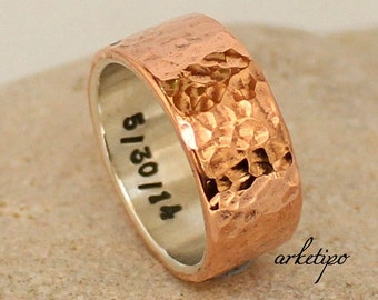Personalized sterling silver and copper Ring.. Men's / Women's Wedding Band.. Personalized Ring sterling silver and copper.. Custom Ring..