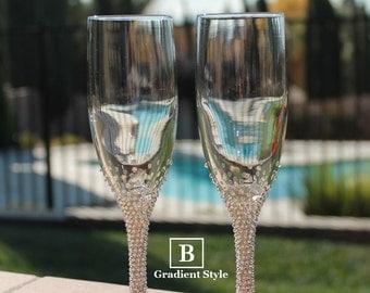 Customizable Swarovski Crystal Embellished Toasting Flutes
