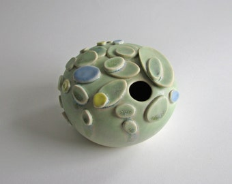 pastel green ceramic vase / contemporary design porcelain vessel by yumiko goto , echo of nature