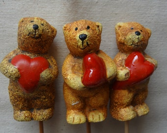 Ceramic Bear With Heart Ornament - Craft Supplies - Valentine's Day Bear - SET of 12