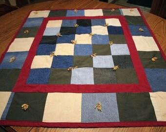 Denim Quilt Western Jean Quilt Country Lap Quilt Blue Jean Quilts Baby Western Blanket Blue Jean Quilt Baby Patchwork Special Need Lap Quilt