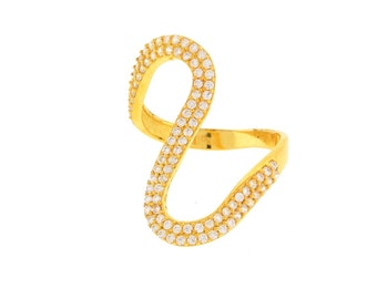 Gold Wavy Ring with CZ