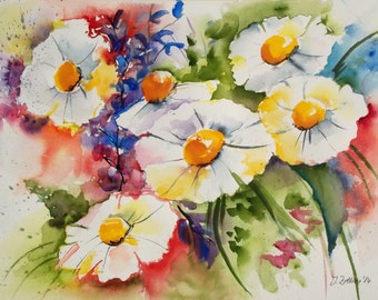 Original Watercolor of Daisies, Flower Painting White Flowers,